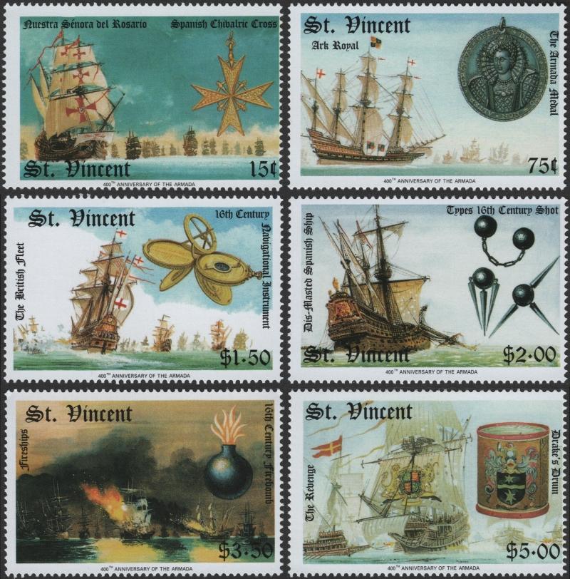 Saint Vincent 1988 Spanish Armada Stamp Forgeries